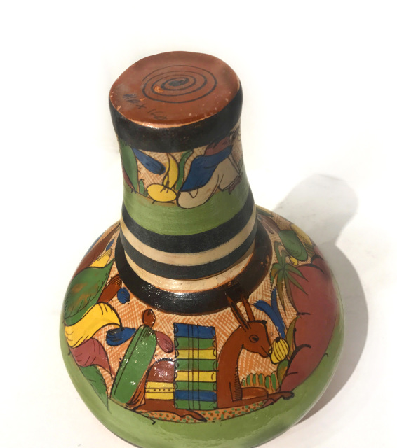 1930s Mexican water vase with cup