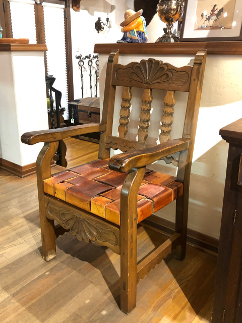 WPA Style Chair, Carved Wood With Woven Leather Seat