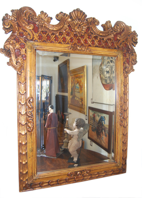 Spanish Colonial Style Large Gilt Mirror Reproduction